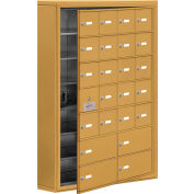Cell Phone Locker with Access Panel 19175-24GSK - Surface Mounted, Keyed Locks, 20A & 4B Doors, Gold