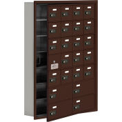 Cell Phone Locker with Access Panel 19175-24ZRC - Recessed Mounted Combo Locks 20A&4B Doors, Bronze