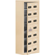 Cell Phone Locker with Access Panel 19178-14SSC - Surface Mounted, Combo Locks 14 A Doors, Sandstone