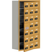 Cell Phone Locker with Access Panel 19178-21GRC - Recessed Mounted, Combo Locks, 21 A Doors, Gold