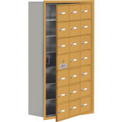 Cell Phone Locker with Access Panel 19178-21GRK - Recessed Mounted, Keyed Locks, 21 A Doors, Gold