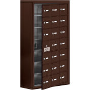 Cell Phone Locker with Access Panel 19178-21ZSK - Surface Mounted, Keyed Locks, 21 A Doors, Bronze