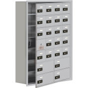 Cell Phone Locker with Access Panel 19178-24ARC - Recessed Mounted Combo Locks 20A&4B Doors Aluminum