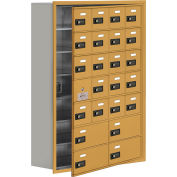 Cell Phone Locker with Access Panel 19178-24GRC - Recessed Mounted, Combo Locks 20A & 4B Doors, Gold
