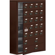 Cell Phone Locker with Access Panel 19178-24ZSC - Surface Mounted Combo Locks 20A & 4B Doors, Bronze