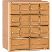 Aluminum Americana Mailbox 2114RL - 14 Doors, Rear Loading, Private Access, Brass