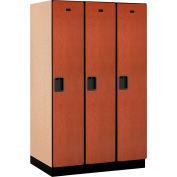 Salsbury Extra Wide Designer Wood Locker 21364  Single Tier 3 Wide 15x24x72 Cherry