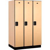 Salsbury Extra Wide Designer Wood Locker 21364 - Single Tier 3 Wide 15x24x72 Maple