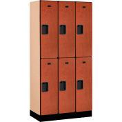 """Salsbury Designer Wood Locker 32368 - Double Tier 3 Wide 12""""W x 18""""D x 36""""H Cherry Unassembled"""