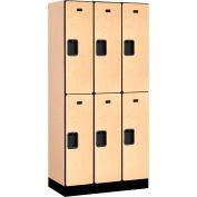 """Salsbury Designer Wood Locker 32368 - Double Tier 3 Wide 12""""W x 18""""D x 36""""H Maple Unassembled"""