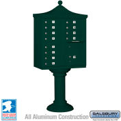 Salsbury Regency Decorative Cluster Box Unit, Tall, 12 A Size Doors, Type II, Green, Private Access