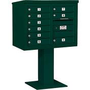 "Salsbury 4C Pedestal Mailbox, 51-1/8""H, Double Column, 9 MB1 Doors, Green"