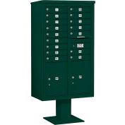 "Salsbury 4C Pedestal Mailbox, 70-1/4""Hm Double Column, 16 MB1/2 PL6 Doors, Green"