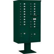 "Salsbury 4C Pedestal Mailbox, 70-1/4""Hm Double Column, 17 MB1/1 PL5/1 PL6 Doors, Green"
