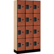 """Salsbury Designer Wood Locker 34365 - Four Tier 3 Wide 12""""W x 15""""D x 18""""H Cherry Unassembled"""