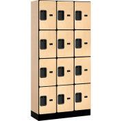 """Salsbury Designer Wood Locker 34365 - Four Tier 3 Wide 12""""W x 15""""D x 18""""H Maple Unassembled"""