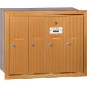 Salsbury 3500 Series 4B+ Vertical Mailbox, 4 Doors, Recessed Mounted, Brass, USPS Access
