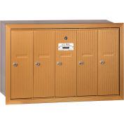 Salsbury 3500 Series 4B+ Vertical Mailbox, 5 Doors, Recessed Mounted, Brass, USPS Access