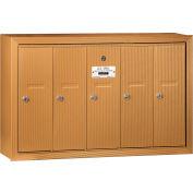 Salsbury 3500 Series 4B+ Vertical Mailbox, 5 Doors, Surface Mounted, Brass, USPS Access