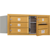 "Salsbury 4C Horizontal Mailbox, 13""H, Double Column, 4 MB1 Doors, Front Load, Gold, Private"