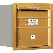 "Salsbury 4C Horizontal Mailbox, 16-1/2""H, Single Column, 1 MB2 Door, Rear Load, Gold, Private"