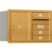 "Salsbury 4C Horizontal Mailbox, 20""H, Double Column, 3 MB1/1 PL5 Door, Rear Load, Gold, Private"