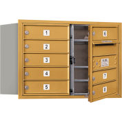 """Salsbury 4C Horizontal Mailbox, 20""""H, Double Column, 8 MB1 Doors, Front Load, Gold, Private"""