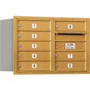 "Salsbury 4C Horizontal Mailbox, 20""H, Double Column, 8 MB1 Doors, Rear Load, Gold, USPS"