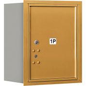 "Salsbury 4C Horizontal Mailbox, 20""H, Single Column,Parcel Box, 1 PL5 Door, Rear Load, Gold, Private"