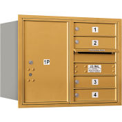 "Salsbury 4C Horizontal Mailbox, 23-1/2""H, Double Column, 4 MB1/1 PL6 Doors, Rear Load, Gold, USPS"