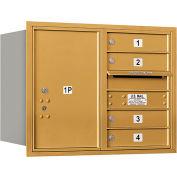 "Salsbury 4C Horizontal Mailbox, 23-1/2""H, Double Column, 4 MB1/1 PL6 Doors, Rear Load, Gold, USPS"