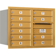 "Salsbury 4C Horizontal Mailbox, 23-1/2""H, Double Column, 10 MB1 Doors, Rear Load, Gold, USPS"
