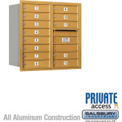 """Salsbury 4C Horizontal Mailbox, 30-1/2""""H, Double Column, 13 MB1 Doors, Rear Load, Gold, Private"""