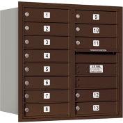 "Salsbury 4C Horizontal Mailbox, 30-1/2""H, Double Column, 13 MB1 Doors, Rear Load, Bronze, USPS"