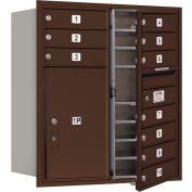"Salsbury 4C Horizontal Mailbox, 34""H, Double Column, 10 MB1/1 PL6 Doors, Front Load, Bronze, Private"