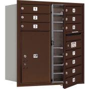 "Salsbury 4C Horizontal Mailbox, 34""H, Double Column, 10 MB1/1 PL6 Doors, Front Load, Bronze, Private"