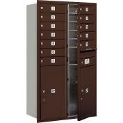 "Salsbury 4C Horizontal Mailbox, 48""H, Double Column, 12 MB1/2 PL6 Doors, Front Load, Bronze, USPS"