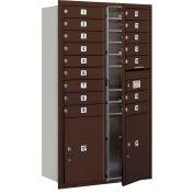 "Salsbury 4C Horizontal Mailbox, 51-1/2""H, Double, 16 MB1/2 PL5 Doors, Front Load, Bronze, USPS"