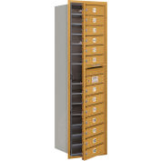 "Salsbury 4C Horizontal Mailbox, 55""H, Single Column, 13 MB1 Doors, Front Load, Gold, Private"