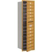 "Salsbury 4C Horizontal Mailbox, 55""H, Single Column, 13 MB1 Doors, Front Load, Gold, Private"