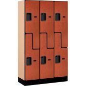 """Salsbury Designer Wood Locker 37355 - Z-Style 3 Wide 12""""W x 15""""D x 60""""H Cherry Unassembled"""
