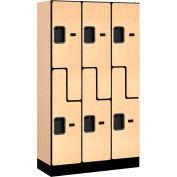 """Salsbury Designer Wood Locker 37355 - Z-Style 3 Wide 12""""W x 15""""D x 60""""H Maple Unassembled"""