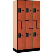 """Salsbury Designer Wood Locker 37368 - Z-Style 3 Wide 12""""W x 18""""D x 72""""H Cherry Unassembled"""