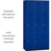 """Salsbury Heavy Duty Plastic Locker, Triple Tier, 3 Wide, 12""""W x 18""""D x 24""""H, Blue"""