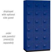 "Salsbury Heavy Duty Plastic Locker, Six Tier Box Style, 3 Wide, 12""W x 18""D x 12""H, Blue"
