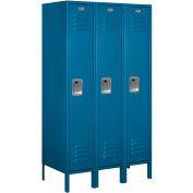 """Salsbury Metal Locker 61358 - Single Tier 3 Wide 12""""W x 18""""D x 60""""H Blue Unassembled"""