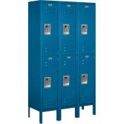 "Salsbury Metal Locker 62352 - Double Tier 3 Wide 12""W x 12""D x 30""H Blue Unassembled"