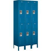 "Salsbury Metal Locker 62365 - Double Tier 3 Wide 12""W x 15""D x 36""H Blue Unassembled"