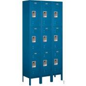 """Salsbury Metal Locker 63362 - Triple Tier 3 Wide 12""""W x 12""""D x 24""""H Blue Assembled"""