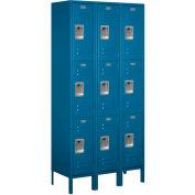 """Salsbury Metal Locker 63365 - Triple Tier 3 Wide 12""""W x 15""""D x 24""""H Blue Unassembled"""